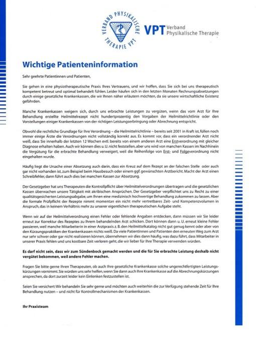 Patienteninformation des VPT
